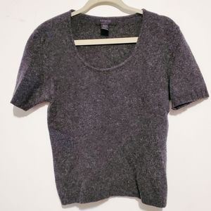 Express Gray Wool Scoop Neck Short Sleeve Sweater
